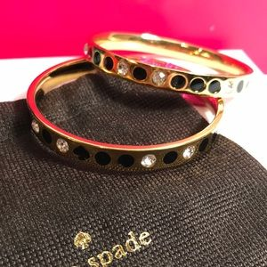 Kate spade gold and black bangle set